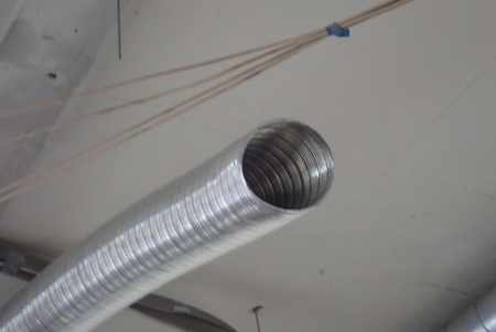 air conditioning ventilation air tube on a ceiling