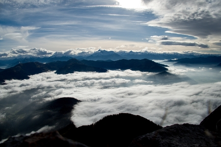 beautiful autumn hiking in berchtesgadener alps with fog in the valey and stunning views