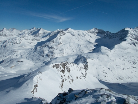 winter skitouring adventure in granastpitzgruppe mountains in austrian alps from enzingerboden in stubachtal