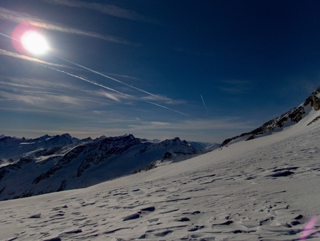 beautiful winter landscape skitouring in venedigergruppe in austrian alps