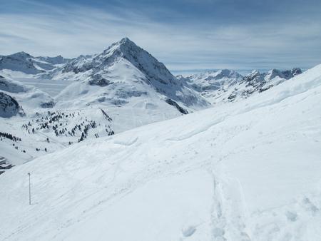 beautiful snow winter skiing season in kuhtai in tirol in austria