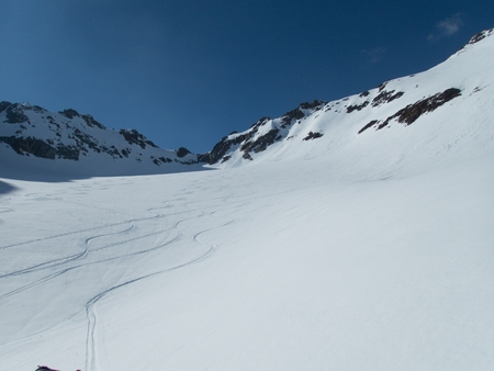 a beautiful skitouring spring season in otztal alps in austria Stok Fotoğraf