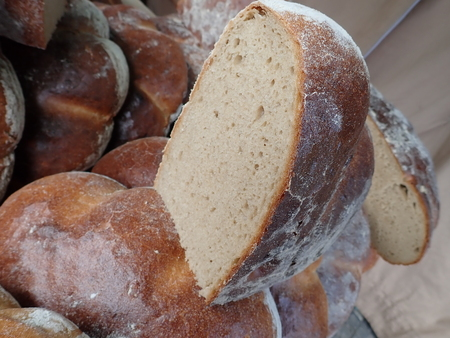 detail of a fresh homemade baked bread in abundance