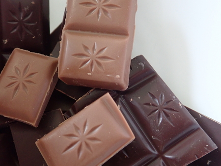 detail of  plenty of brown sweet chocolate for dessert