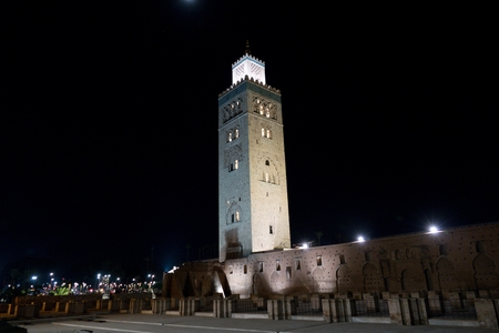 famous morrocan mosque koutoubia close to jema el fnaa square in marrakech Stok Fotoğraf