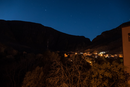 desert mountain village of Todra in morocco in the night Stok Fotoğraf