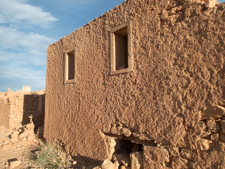 old historical abandoned kasbah in tinghir city in morocco great atlas desert