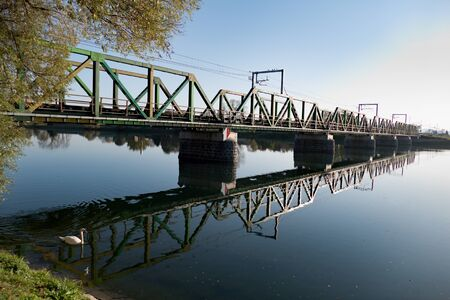 bridge over a calm drava river in ptuj city close to Ptujsko jezero dam