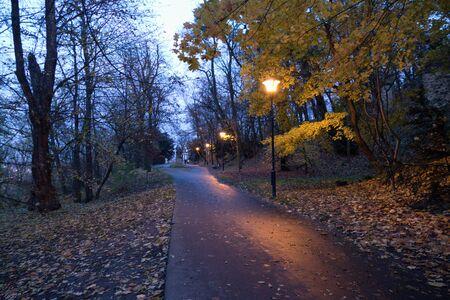 a romantic evening in a park of Petrin Hill in Prague in czech republic Stock Photo