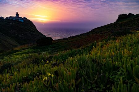 romantic sunset at famous cabo da roca in portugal most wertern point of europe