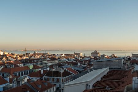 portugal city lisbon old town panorama with historic roofs Stock fotó