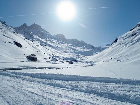 beautiful winter day in skitouring paradise silvretta mountains in austrian alps