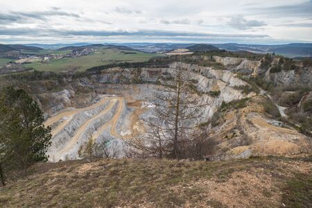 open limestone quarry in the czech karst area