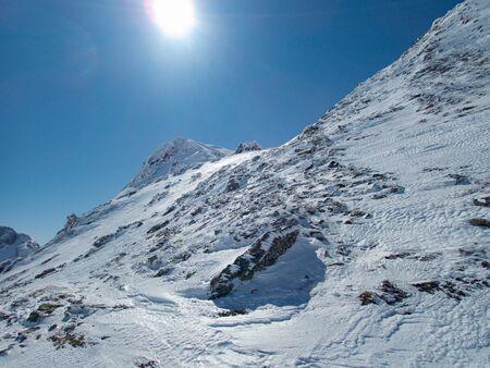 beautiful sunny skitouring day in austrian alps in hohe tauern ankogelgruppe