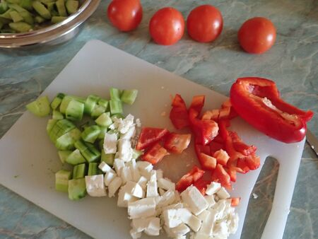 kitchen homemade preperation of a balkan sadad from fresh vegetables