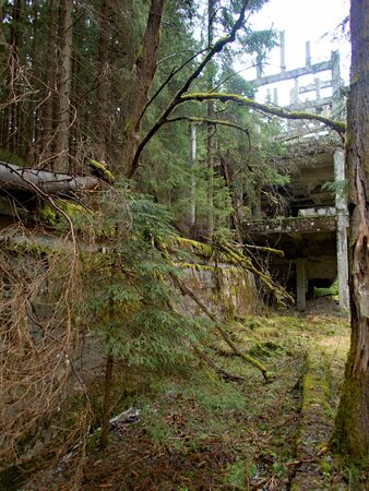 abandoned concrete ruin of an old tin mine in ore mountains in czech republic