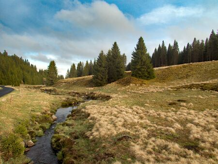 natural landscape in chech ore mountains in western bohemia