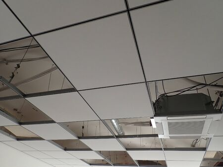 gybsum board ceiling grid in a reconstructed modern office building