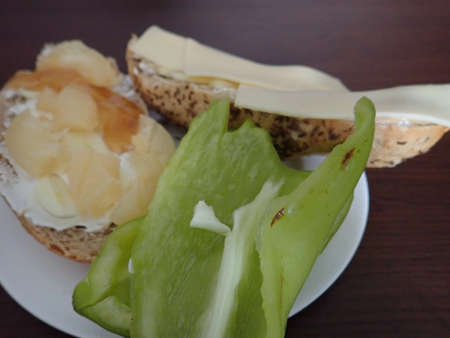 fresh bread and cheese based snack served on a plate