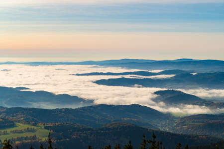 czech Jeseniky Mountains above the inversion cloud in sunny weather