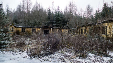 a danger ruin of an abandoned house in the wood