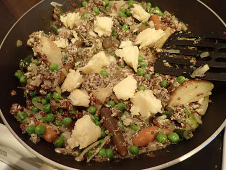 fresh and healthy quinoa and vegetable salad portion