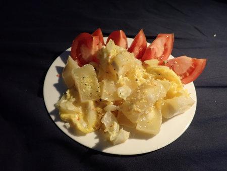 fresh warm breakfast scrambled eggs with vegetable