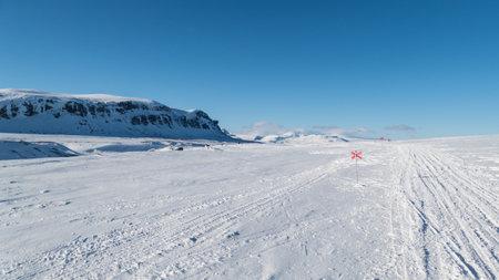 beautiful wild snowy winter landscape of Sarek national park in swedish lappland