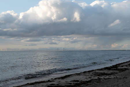 a distant bridge over the sea from sweden to denmark