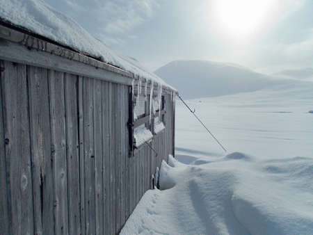 tiny hut shelter in a mountain pass of sarek national park in sweden