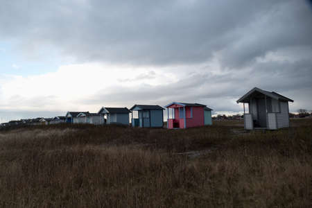 colofrul tiny wooden houses at the southern sweedish coast