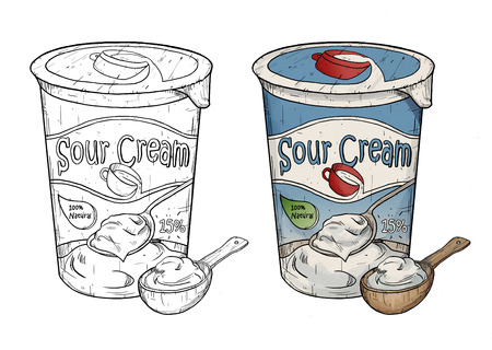 sour: line art illustration of sour cream Stock Photo