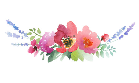 watercolor design label with roses, anemone, lavender and leaves. Artwork isolated on white background Stockfoto