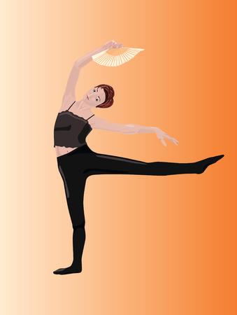 예행 연습: Vector illustration of dancer's rehearsal 일러스트