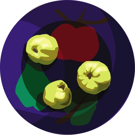 Three quince on bright-colored plate