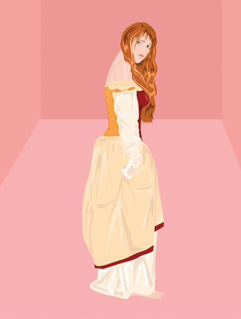resentful: Vector illustration of princess in pink room