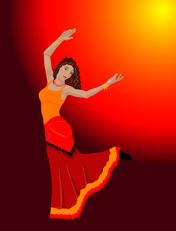 red head woman: Vector illustration of gipsy dancing