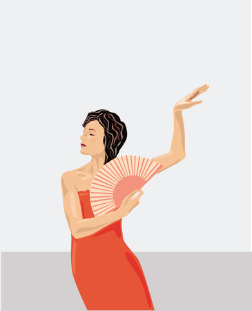 pretentious: Vector illustration of fan dancer's performance