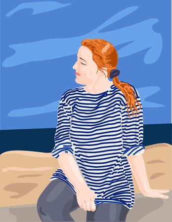striped vest: Young girl in sailors striped vest Illustration