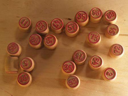 kegs: Lotto kegs on wood board Stock Photo