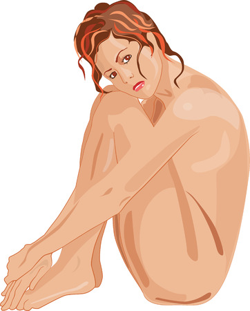 jeune fille adolescente nue: Naked belle fille triste elle-m�me englobant les bras