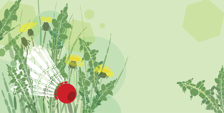 White shuttlecock; and dandelions composition with copy space Vector