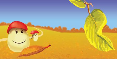 stipe: Vector cartoon of autumn landscape with mushroom family
