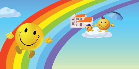 Smiley family sliding on a rainbow