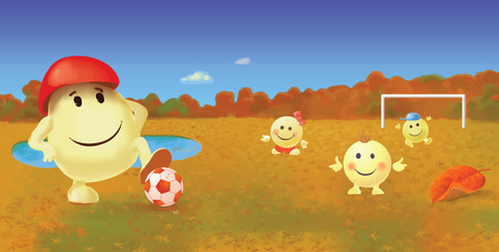 family playing: Smiley family playing football Illustration