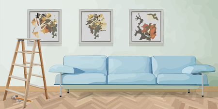 hanged: Interior with sofa and pictiures on the wall, just hanged