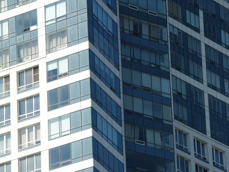 business scene: Walls of a building with grid of windows
