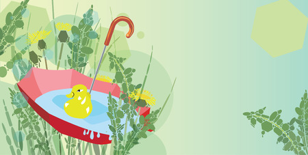 duck toy: Red umbrella with rain water, duck toy and dandelions composition with copy space Illustration