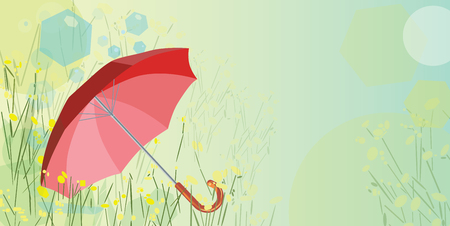 red umbrella: Red umbrella and dandelions composition with copy space