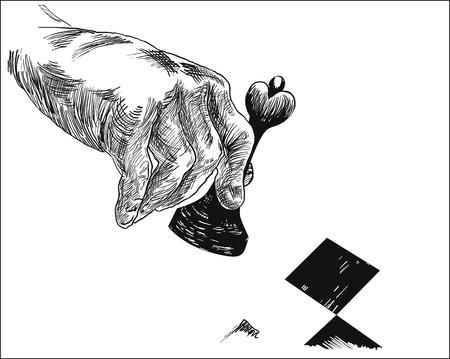 Lijntekeningenillustratie van een menselijke hand, die het stuk van de schaakkoningin voor bedrijfsstrategieconcept houden